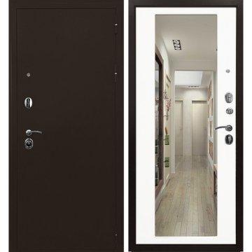 Входная металлическая дверь Сенатор Престиж 6R Антик медь | Белый матовый с зеркалом
